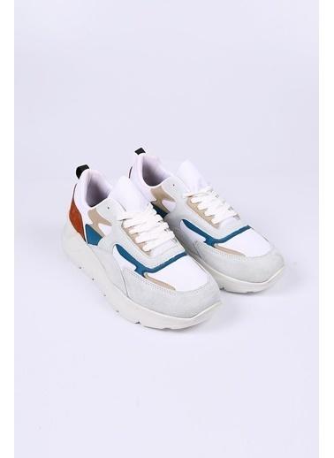 Krähe Beyaz Hakiki Deri Sneaker Beyaz